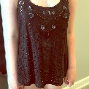 Free People black embroidered and knit tank